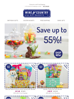 WineCountryGiftBaskets - Save up to 55% on Easter baskets!
