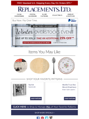 Our Overstocks Event Continues - Save up to 50% (Customer #19762580)