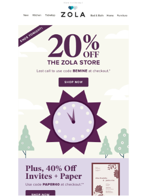 Zola - 20% off ends TONIGHT ⚠️