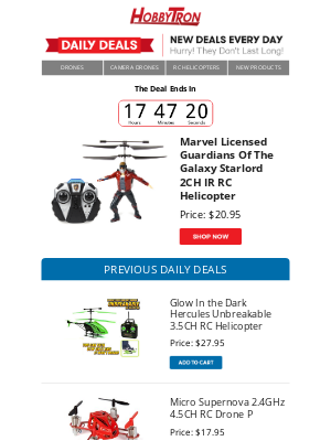 HobbyTron - $20.95 - Marvel Licensed Guardians Of The Galaxy Starlord 2CH IR RC Helicopter