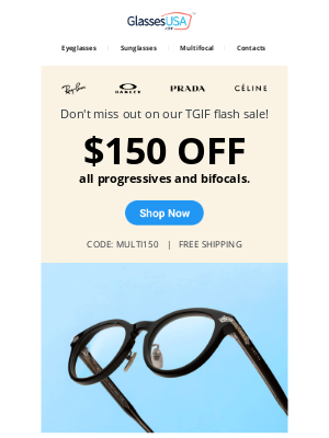 GlassesUSA - ⚡ Friday Flash Sale: $150 OFF progressives + FREE shipping