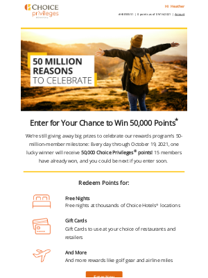 Choice Hotels - Don't Miss Your Chance to Win 50,000 Points!