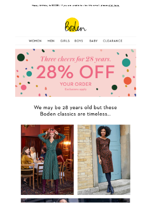 28% OFF – now that's cause for celebration