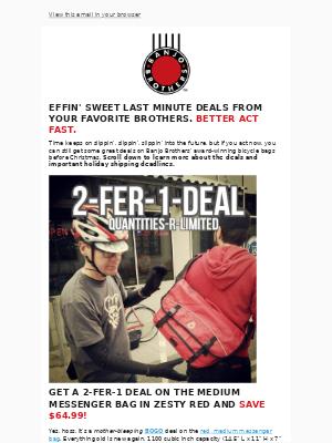 Banjo Brothers - 2 Fer 1 Messenger Bag and Other Last Minute Deals From Banjo Brothers