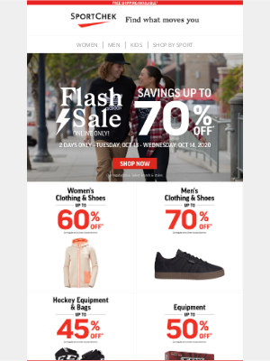 Sport Chek (CA) - Up To 70% Off ⚡ Flash Sale Ends Today!