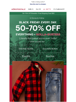 Aeropostale - Holla-Buster Flannels From $11.99!