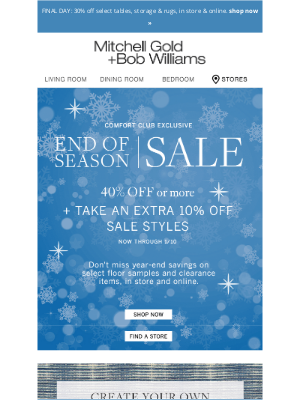 Mitchell Gold + Bob Williams - Now take an extra 10% off End of Season Sale