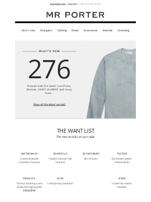 MR PORTER - What's new? 276 new arrivals from Fear of God Essentials Kids and more
