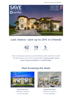 Last chance to save up to 20% at selected villas in Orlando