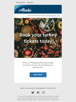 Alaska Airlines - Thanksgiving flights: book now and gather 'round the table.