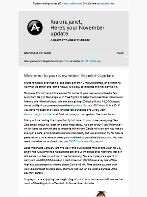 Air New Zealand - janet, your November Airpoints Update