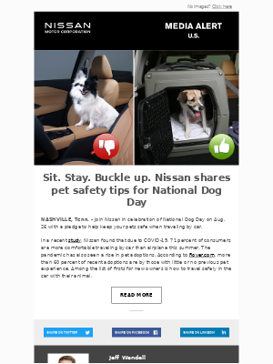 Nissan - Sit. Stay. Buckle up. Nissan shares pet safety tips for National Dog Day