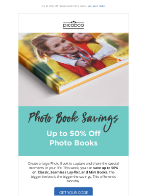 Picaboo - Up to 50% off Photo Books this week!