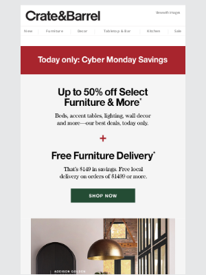 TODAY ONLY | Up to 50% off furniture + free delivery
