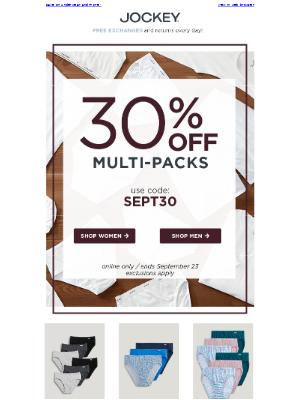Jockey - Clock's ticking: 30% OFF multi-packs