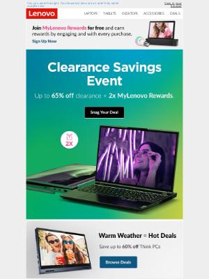 Lenovo - Up to 65% off clearance + 2x MyLenovo Rewards 🎉