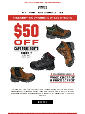 Duluth Trading Company - $50 OFF Capstone Boots - Step Up To Any Challenge
