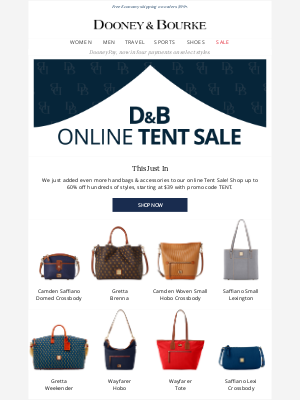 Dooney & Bourke - $39 and up during our online Tent Sale!