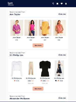 These just arrived: Ann Taylor, 3.1 Phillip Lim, Alexander McQueen
