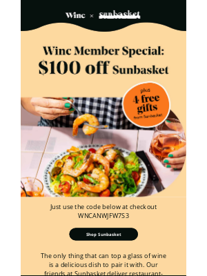 Winc - Enjoy $100 off delicious meals delivered to your door