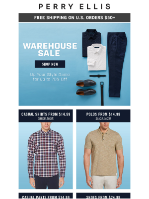 Perry Ellis - Save Big With the Warehouse Sale