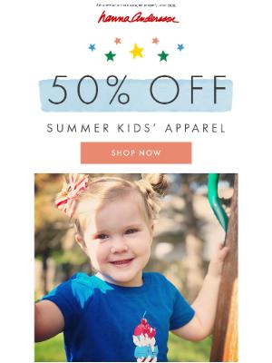 50% off kids' apparel ends tonight!