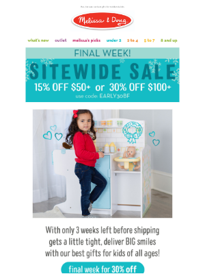 Melissa & Doug LLC - Final week for 30% off sitewide!