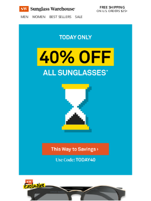 ⏳ Today: 40% OFF all sunglasses!