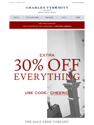 Charles Tyrwhitt - Last chance for 30% off everything