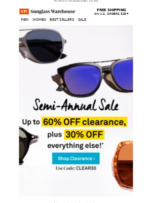 Up to 60% OFF clearance (and 30% OFF everything else)!