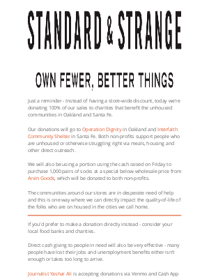 Standard & Strange - Black Friday: All Sales Donated to Charity
