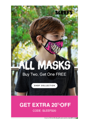 Today: All Masks Buy 2 Get 1 FREE 💪