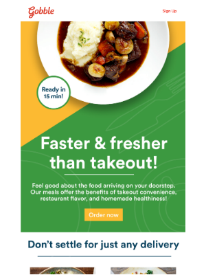 Gobble - Thinking about takeout? We're even faster. 🥘