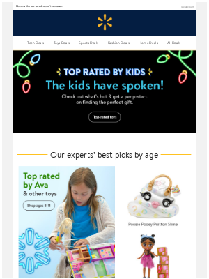 Top Rated by Kids + customer faves