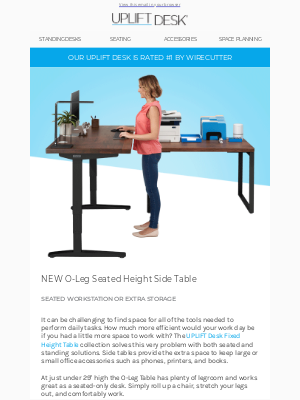 Uplift Desk - Bamboo Standing Desk SALE + New Seated Side Table