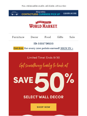 World Market - Staring at the walls? Dress them up with 50% off Wall Decor!