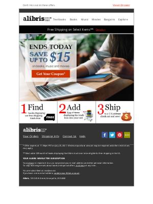 Alibris - Summer Sale ends today! Save $15, Victoria