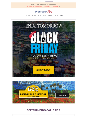 overstockArt - Don't Wait! Today's the Day! Big Black Friday Preview Sale ends tomorrow.