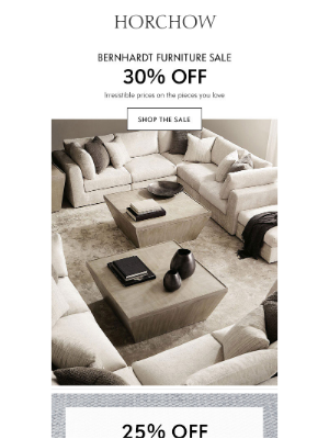Horchow Mail Order - 30% off Bernhardt + Sale on sale with free shipping!