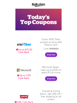 Rakuten - Today's top 10 deals: Microsoft Store, Levi's, Vitacost and more