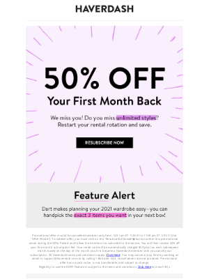 Haverdash - Just for you: 50% off your first month