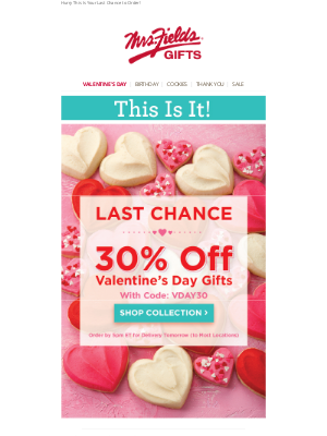 Mrs. Fields - 30% Off Our ❤️ Valentine's Day Gifts
