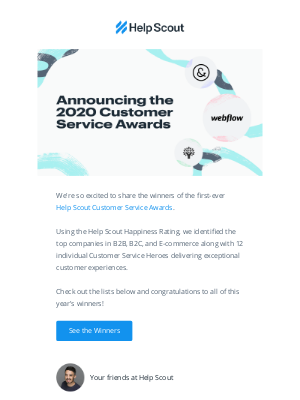 Help Scout - Announcing the 2020 Help Scout Customer Service Awards!