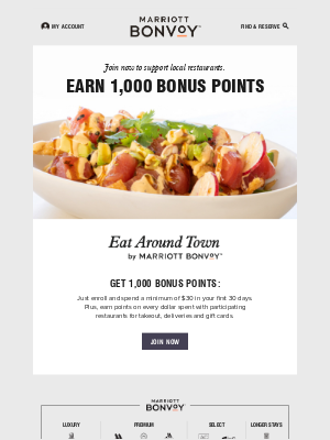 Earn 1,000 Bonus Points with Takeout and Delivery
