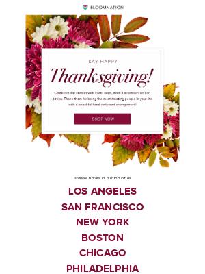 BloomNation - Wish them a good Thanksgiving!