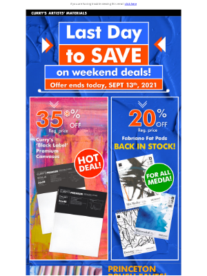 Curry's Art Store (CA) - These Deals End Today!