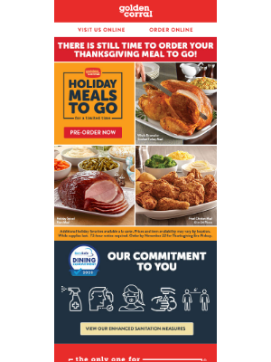 Golden Corral - Let us do the cooking - order your holiday meal to go today!