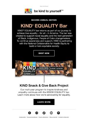 KIND Snacks - The KIND EQUALITY bar is back