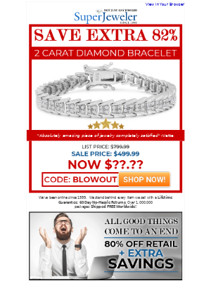 SuperJeweler - Grab One Of The Few Remaining! Don't Miss Out...Save Extra 82%