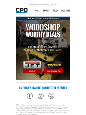 CPO Outlets - Woodshop Worthy Deals: Up to 10% Off JET and Powermatic Tools!